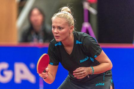 STOCKHOLM, SWEDEN - NOV 18, 2016: Miyu Kato (JPN) vs Georgina Pota HUN) at the table tennis tournament SOC at the arena Eriksdalshallen in Stockholm. Redakční