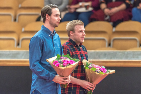STOCKHOLM, SWEDEN - NOV 19, 2016: Celebrations of swedes that has done much for swedish pingis during 2016 at the arena Eriksdalshallen in Stockholm.