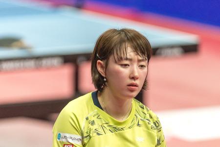 STOCKHOLM, SWEDEN - NOV 19, 2016: I Ching Cheng (TPE) vs Hyowon Suh (KOR) in the table tennis tournament SOC at the arena Eriksdalshallen in Stockholm.