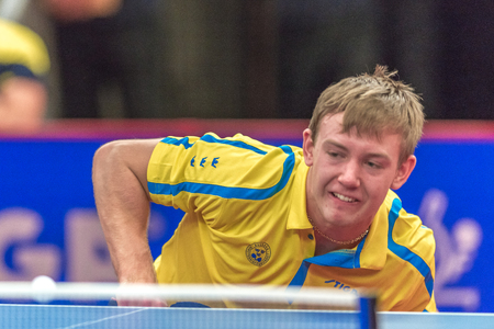 STOCKHOLM, SWEDEN - NOV 18, 2016: Elias Ranefur (SWE) vs Jonathan Groth (DEN) at the table tennis tournament SOC at the arena Eriksdalshallen in Stockholm.