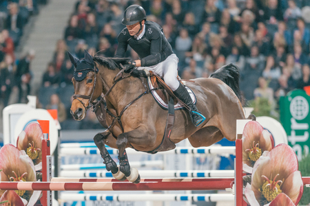 uomo a cavallo: SOLNA, SWEDEN - NOV 27, 2016: Geir Gulliksen at the Friends Christmas Speed Jumping in the Sweden International Horse Show at Friends arena.