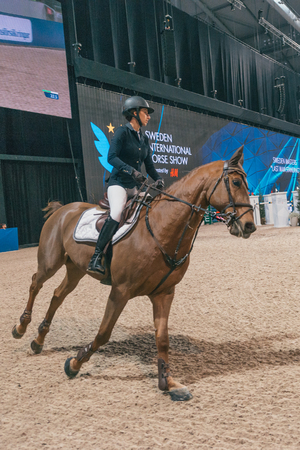 SOLNA, SWEDEN - NOV 27, 2016: Janika Sprunger at the Sweden Masters Last Man Standing in the Sweden International Horse Show at Friends arena. Editorial