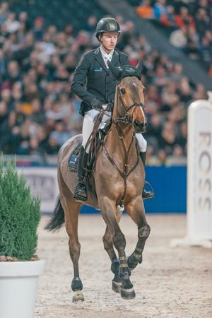 SOLNA, SWEDEN - NOV 27, 2016: Sweden Masters Last Man Standing in the Sweden International Horse Show at Friends arena.