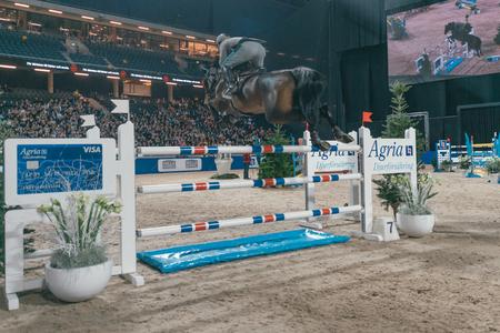 SOLNA, SWEDEN - NOV 27, 2016: Emanuele Gaudiano at the Sweden Grand Prix in the Sweden International Horse Show at Friends arena.