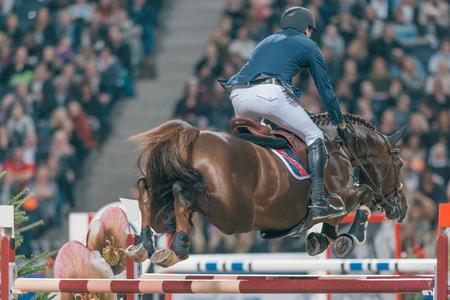 SOLNA, SWEDEN - NOV 27, 2016: Piergiorgio Bucci at the Sweden Grand Prix in the Sweden International Horse Show at Friends arena. Editorial