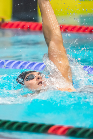elite: STOCKHOLM, SWEDEN - NOV 6, 2016: Swimmers at the National Swedish swim competition at Eriksdalsbadet. Editorial