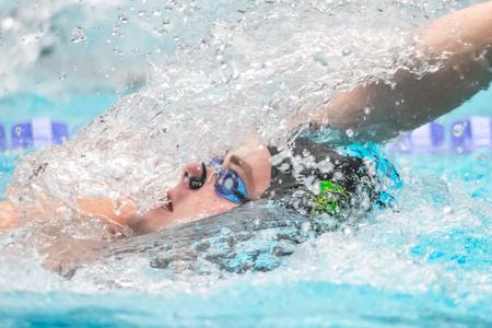 STOCKHOLM, SWEDEN - NOV 6, 2016: Swimmers at the National Swedish swim competition at Eriksdalsbadet. Redakční