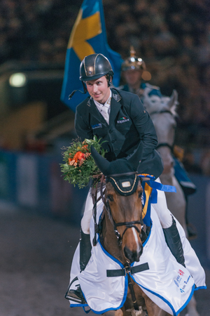 uomo a cavallo: SOLNA, SWEDEN - NOV 27, 2016: Winner Douglas Lindlow at the Sweden Masters Last Man Standing in the Sweden International Horse Show at Friends arena. Editoriali