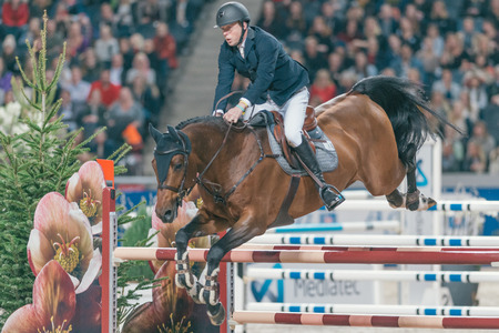 SOLNA, SWEDEN - NOV 27, 2016: Jens Fredricson at the Friends Christmas Speed Jumping in the Sweden International Horse Show at Friends arena.