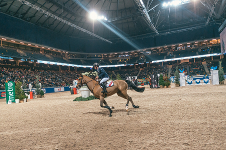 SOLNA, SWEDEN - NOV 27, 2016: Bertram Allen at the Champion of the youngsters final in the Sweden International Horse Show at Friends arena.
