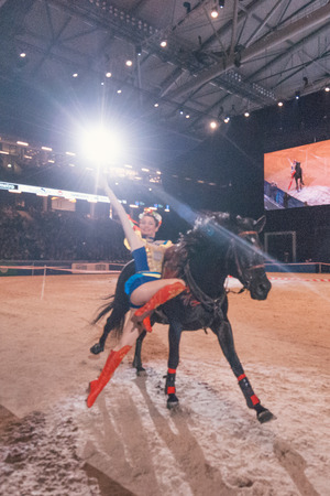 SOLNA, SWEDEN - NOV 27, 2016: Ukrainian Cossacks Horse Show at the Sweden International Horse Show at Friends arena.