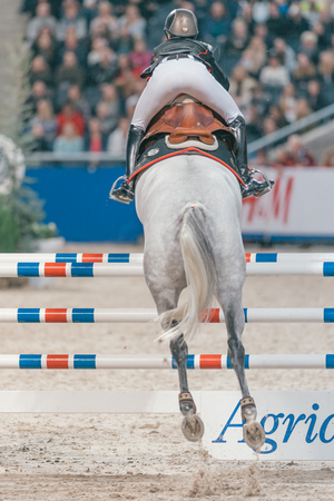 hm: SOLNA, SWEDEN - NOV 27, 2016: Malin Baryard Johnsson at the Friends Christmas Speed Jumping in the Sweden International Horse Show at Friends arena. Editorial