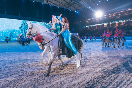 SOLNA, SWEDEN - NOV 27, 2016: Christmas show at the Sweden International Horse Show at Friends arena.
