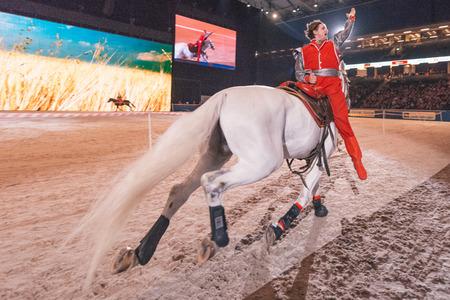 SOLNA, SWEDEN - NOV 27, 2016: Ukrainian Cossacks Horse Show at the Sweden International Horse Show at Friends arena.
