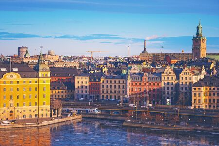 Site of the northern shore of stockholm with colorful buildings. Sweden