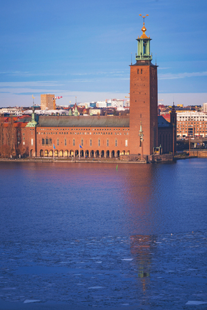 the old town hall: Stockholm city tower during winter in eveninglight. Sweden