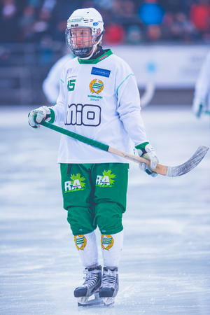 bandy: STOCKHOLM, SWEDEN, JAN 22: Albin Ronnquist at the bandy game between Hammarby and Bollnas. Hammarby won with 6-1 at Zinkensdamm