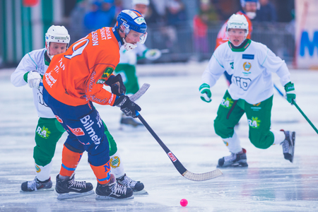 STOCKHOLM, SWEDEN, JAN 22: Patrik Nilsson at the bandy game between Hammarby and Bollnas. Hammarby won with 6-1 at Zinkensdamm