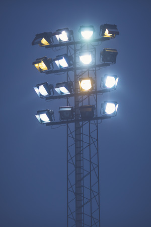 floodlights: STOCKHOLM, SWEDEN, JAN 22: Floodlights at th bandy game between Hammarby and Bollnas. Hammarby won with 6-1 at Zinkensdamm