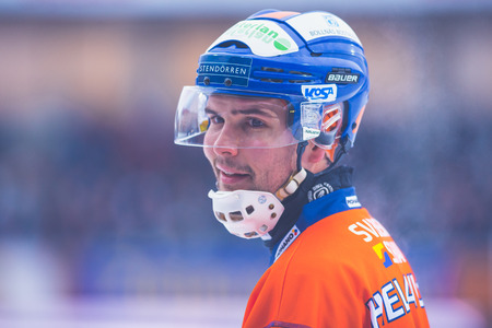 bandy: STOCKHOLM, SWEDEN, JAN 22: Closeup of Samuli Helavouri at the bandy game between Hammarby and Bollnas. Hammarby won with 6-1 at Zinkensdamm Editorial