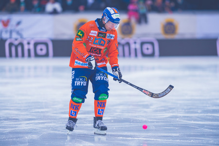 bandy: STOCKHOLM, SWEDEN, JAN 22: Warmup before the bandy game between Hammarby and Bollnas. Hammarby won with 6-1 at Zinkensdamm