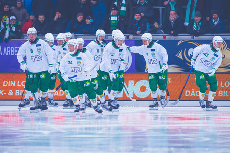 STOCKHOLM, SWEDEN, JAN 22: Hammarby peptalk before the gandy game between Hammarby and Bollnas. Hammarby won with 6-1 at Zinkensdamm