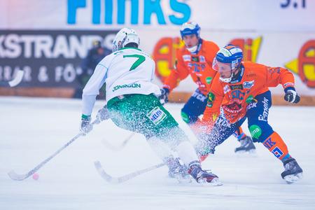 ganado: ESTOCOLMO, SUECIA, 22 DE ENERO: Jesper Jonsson en el juego bandy entre Hammarby y Bollnas. Hammarby ganó con 6-1 en Zinkensdamm Editorial