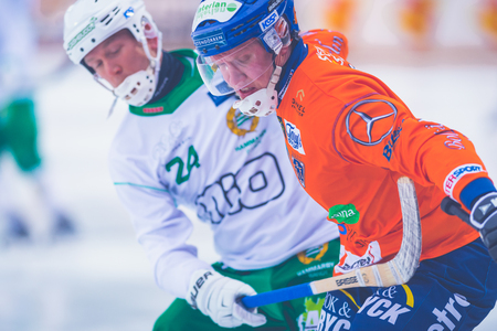 bandy: STOCKHOLM, SWEDEN, JAN 22: Bandy game between Hammarby and Bollnas. Hammarby won with 6-1 at Zinkensdamm