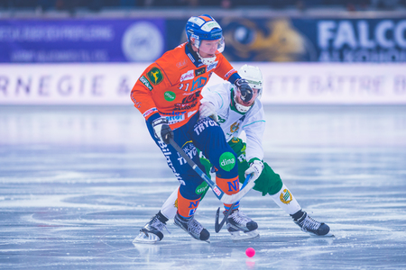 bandy: STOCKHOLM, SWEDEN, JAN 22: Daniel Berlin at the bandy game between Hammarby and Bollnas. Hammarby won with 6-1 at Zinkensdamm