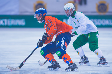 bandy: STOCKHOLM, SWEDEN, JAN 22: Jonsson and Nilsson at the bandy game between Hammarby and Bollnas. Hammarby won with 6-1 at Zinkensdamm
