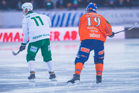 STOCKHOLM, SWEDEN, JAN 22: Pizzoni Elfving and Nilsson at the bandy game between Hammarby and Bollnas. Hammarby won with 6-1 at Zinkensdamm