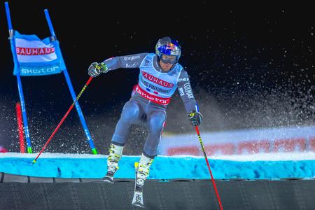 STOCKHOLM, SWEDEN, JAN 31, 2017: Alexis Pinturault (FRA) at the FIS Parallel slalom city event in Hammarbybacken, Stockholm