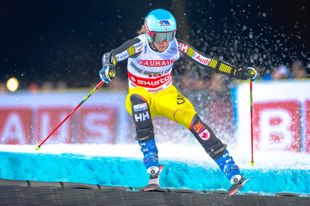 parallel world: STOCKHOLM, SWEDEN, JAN 31, 2017: Marie Michele Gagnon (CAN) at the FIS Parallel slalom city event in Hammarbybacken, Stockholm Editorial