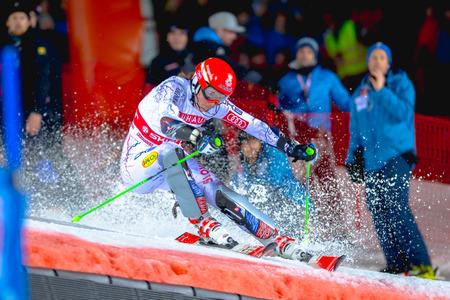 STOCKHOLM, SWEDEN, JAN 31, 2017: Petra Vlohova (SVK) at the FIS Parallel slalom city event in Hammarbybacken, Stockholm Editorial