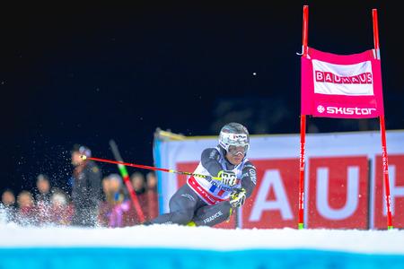 STOCKHOLM, SWEDEN, JAN 31, 2017: Julien Lizeroux (FRA) at the FIS Parallel slalom city event in Hammarbybacken, Stockholm Editorial