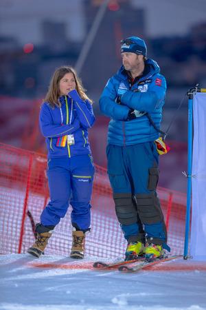 STOCKHOLM, SWEDEN, JAN 31, 2017: Former skier Pernilla Wiberg and now commentator at SVT in the FIS Parallel slalom city event in Hammarbybacken, Stockholm
