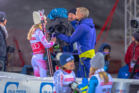 interviewed: STOCKHOLM, SWEDEN, JAN 31, 2017: Mikaela Shiffrin (USA) interviewed by SVT and Andre Pops at the FIS Parallel slalom city event in Hammarbybacken, Stockholm