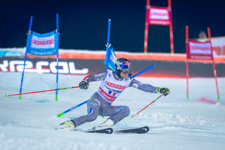 parallel world: STOCKHOLM, SWEDEN, JAN 31, 2017: Alexis Pinturault (FRA) at the FIS Parallel slalom city event in Hammarbybacken, Stockholm. Second place