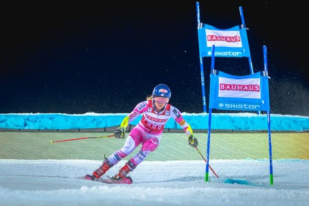 STOCKHOLM, SWEDEN, JAN 31, 2017: Mikaela Shiffrin (USA) at the FIS Parallel slalom city event in Hammarbybacken, Stockholm. Winner Redakční