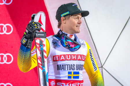 parallel world: STOCKHOLM, SWEDEN, JAN 31, 2017: Happy Mattias Hargin (SWE) at the prize cermony at the FIS Parallel slalom city event in Hammarbybacken, Stockholm. Third place