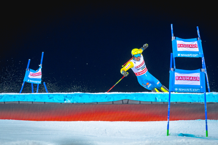 STOCKHOLM, SWEDEN, JAN 31, 2017: Mattias Hargin (SWE) at the FIS Parallel slalom city event in Hammarbybacken, Stockholm Redakční