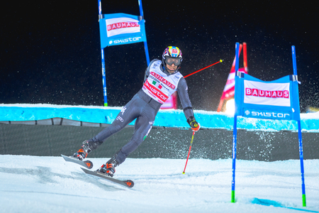parallel world: STOCKHOLM, SWEDEN, JAN 31, 2017: Stefano Gross (ITA) at the FIS Parallel slalom city event in Hammarbybacken, Stockholm