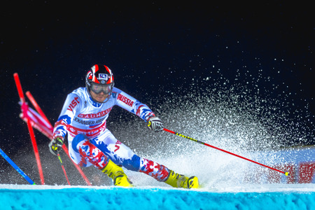 STOCKHOLM, SWEDEN, JAN 31, 2017: Alexander Khoroshilov (RUS) at the FIS Parallel slalom city event in Hammarbybacken, Stockholm