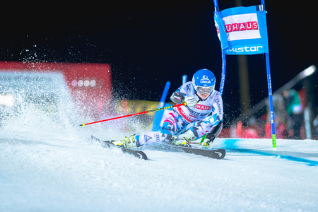 STOCKHOLM, SWEDEN, JAN 31, 2017: Bernadette Schild (AUT) at the FIS Parallel slalom city event in Hammarbybacken, Stockholm