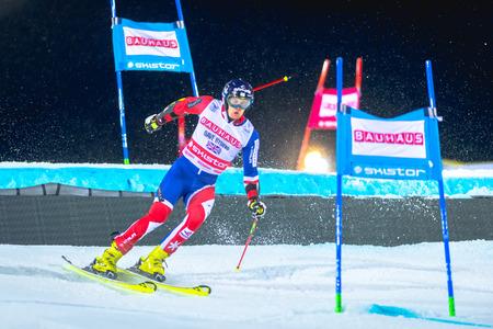 STOCKHOLM, SWEDEN, JAN 31, 2017: Dave Ryding (GBR) at the FIS Parallel slalom city event in Hammarbybacken, Stockholm Editorial