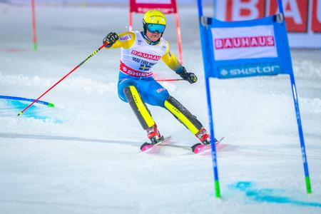third world: STOCKHOLM, SWEDEN, JAN 31, 2017: Mattias Hargin (SWE) at the FIS Parallel slalom city event in Hammarbybacken, Stockholm Editorial