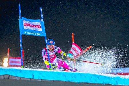 parallel world: STOCKHOLM, SWEDEN, JAN 31, 2017: Mikaela Shiffrin (USA) at the FIS Parallel slalom city event in Hammarbybacken, Stockholm Editorial