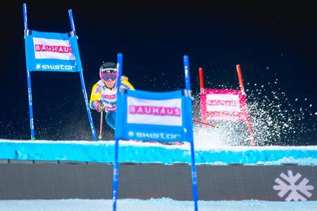 STOCKHOLM, SWEDEN, JAN 31, 2017: Frida Hansdotter (SWE) at the FIS Parallel slalom city event in Hammarbybacken, Stockholm Editorial