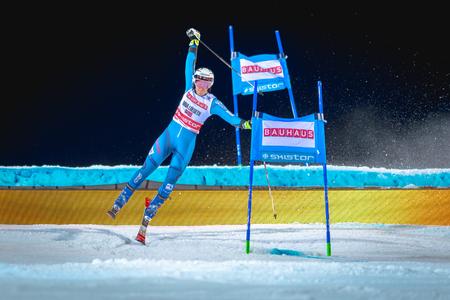 STOCKHOLM, SWEDEN, JAN 31, 2017: Nina Loeseth (NOR) at the FIS Parallel slalom city event in Hammarbybacken, Stockholm