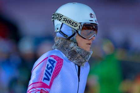 STOCKHOLM, SWEDEN, JAN 31, 2017: Resi Stiegler (USA) checking the course at the FIS Parallel slalom city event in Hammarbybacken, Stockholm